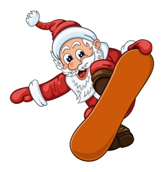 Cartoon Santa Claus makes jump on snowboard vector image