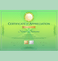 Certificate of appreciation template in green vector