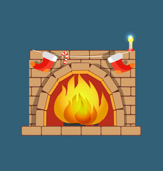 Christmas fireplace poster vector