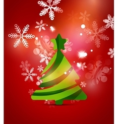 Christmas tree red shiny abstract background vector image vector image