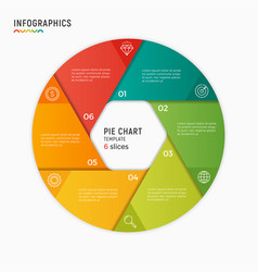 Circle chart infographic template 6 vector