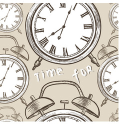 clock seamless pattern vintage watch dial vector image