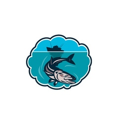 Cobia fish fishing boat bubble retro vector