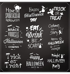 Collection of typographic halloween design vector