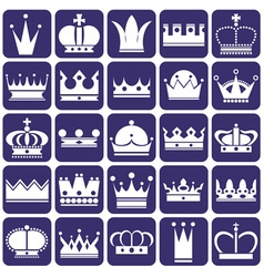 Crown icons on blue vector