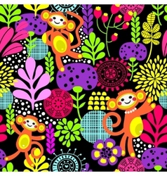 Cute monkey seamless texture with flowers vector