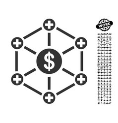 Financial medical network icon with men bonus vector