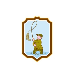 Fly fisherman fish on reel shield cartoon vector