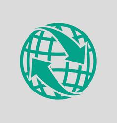 Globe with arrows icon vector