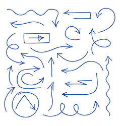 hand drawn arrows set - ballpoint pen sketched vector image vector image
