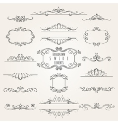 Hand drawn Swirl Element Set vector image