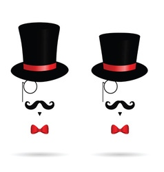 hat cylinder with mustache vector image