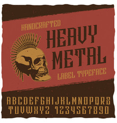 heavy metal label typeface poster vector image