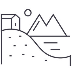 House on hills with lake and mountains line vector