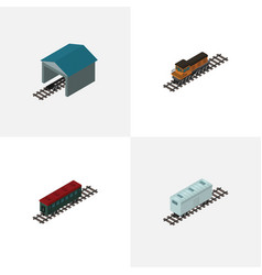 Isometric wagon set of subway vehicle train vector