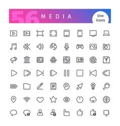 Media Line Icons Set vector image