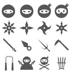 Ninja samurai and weapons icons set vector