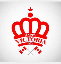 Red crown with flag canada for victoria day vector