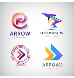 set of 3d colorful arrow logos icons vector image vector image