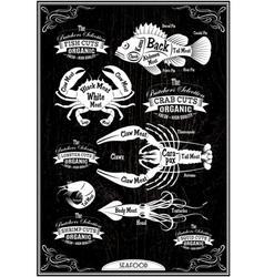 Set of diagram cut carcasses seafood vector