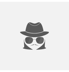 spy in a hat and sunglasses vector image vector image