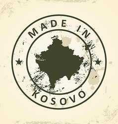 Stamp with map of kosovo vector