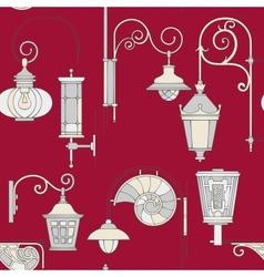 Street lantern seamless pattern vector image