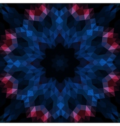 Stylized round mandala-like design on black vector image vector image