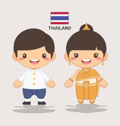 Thai kids sawasdee vector