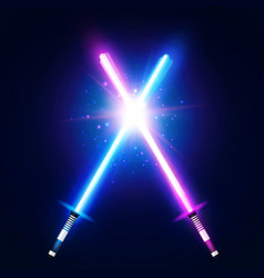 Two crossed light neon swords laser sabers war vector