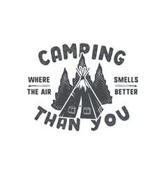vintage hand drawn camping badge and emblem vector image vector image