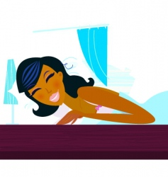 young woman in bed vector image