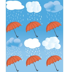 Rainny weather statuses vector