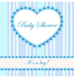 Baby shower with heart banner boy vector image