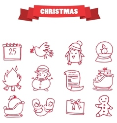 Christmas holiday icons collection stock vector
