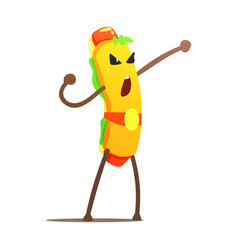 Hot dog in champion belt street fighter fast food vector