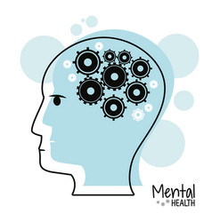 Head profile mental health gears vector
