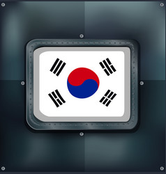 South korea flag on metalic background vector