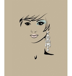 Sketch of girls head with earring in his ear vector