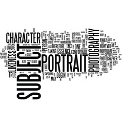 The essence of portrait photography text vector