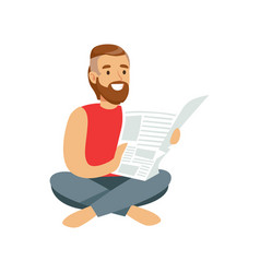 Bearded young man sitting on the floor and reading vector