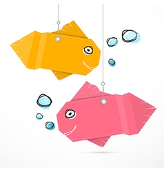 Paper fish hang on strings with bubbles vector