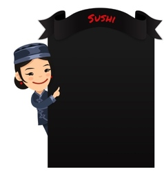 Asian female chef looking at blank menu vector