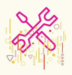 Screwdriver and wrench on abstract colorful vector
