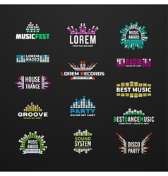 First big set music equalizer emblem vector