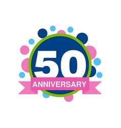 50th anniversary colored logo design happy vector