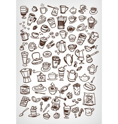 Coffee doodle icons vector