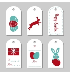 Collection of six easter gift tags vector