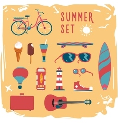 Summer mood board icon set vector