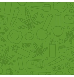 Marijuana weed cartoon seamless pattern vector